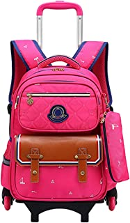 Zhhlaixing Wheeled Rolling School Bags - Upright Backpack with Wheels Removable Trolley Schoolbag Suitcase for Girls Boys