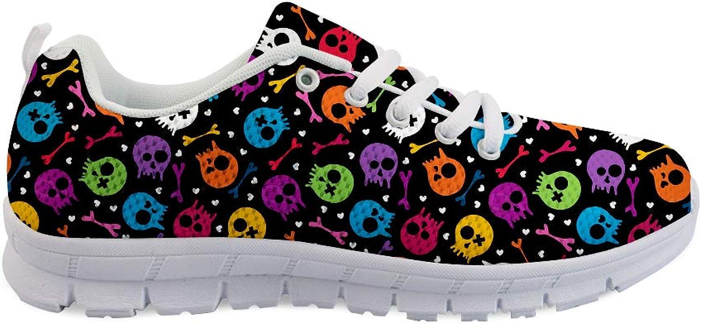 Owaheson Laceup Sneaker Training shoes Mens Womens Halloween Rainbow Skulls Bones