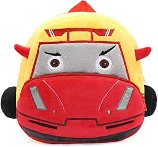Mini Toddler Backpack Cute 3D Plush Racing Car Toys Backpacks Unisex Daypack for Kindergarten Kids,Built-in Anti-Lost Signature Card Outdoor (Color : Yellow)