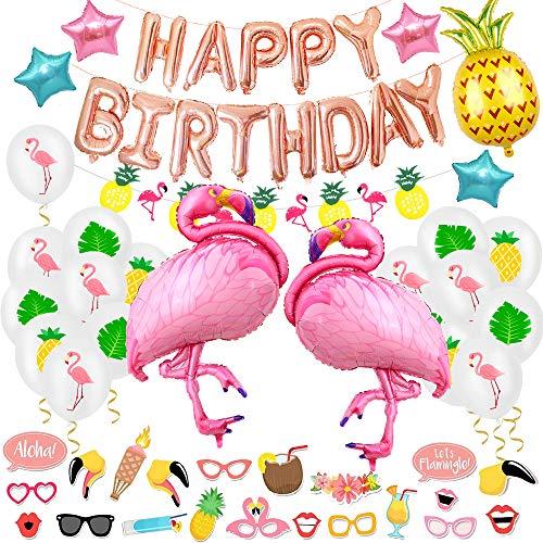 Decorazione di Compleanno, SPECOOL Banner Buon Compleanno Oro Rosa con Lamina Fenicottero e Palloncini in Lattice e Oggetti di Scena Accessori per Festa Compleanno Estate Hawaii Luau