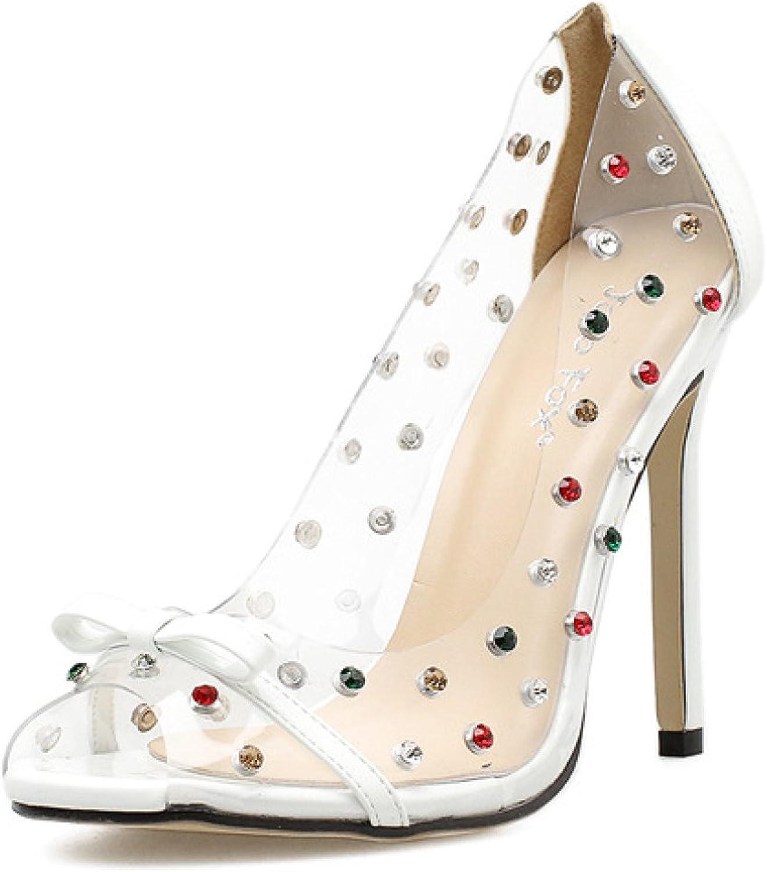 Women's Peep Toe Bow Tie Stiletto Rhinestone High Heel Prom Party Slip On Sandals Pumps,White-EU 37=6.5B(M) US