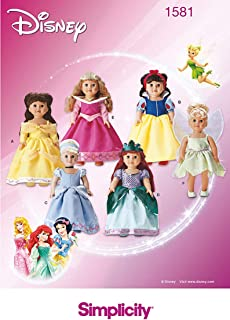 Simplicity 1581 Disney Princess Dress 18'' Doll Costume Sewing Patterns