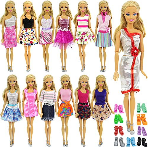 Zita Elment Lot 10 Items Doll Clothes Accessories for 11.5 Inch Girl Doll | Affordale Pack - 5 Sets Summer Casual Wear Outfit/Dresses + 5 Pairs Shoes | Random Style