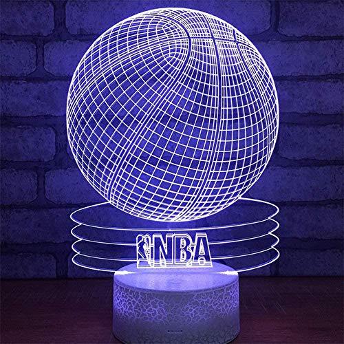 Lámpara 3D de ilusión óptica 3D de la NBA, 16 colores, regulable, control táctil con mando a distancia, regalos creativos para niños de 10 años