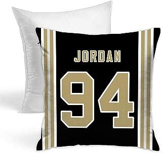 Fedasgoge Personalized Custom Football Decorative Throw Pillow 18 X 18 Pillow Inserts - Print #94 Cameron Jordan Black Jersey Style Throw Pillow Case