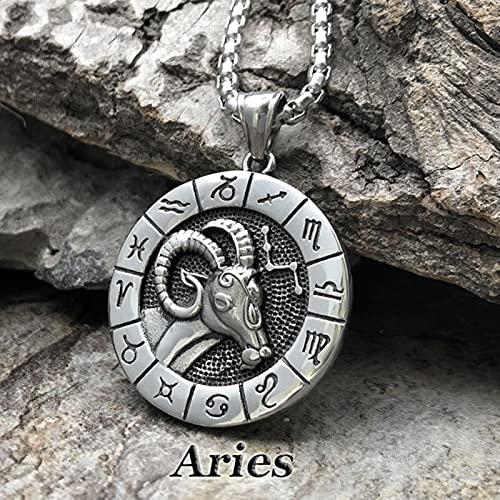 SONGK Collar de 12 Constelaciones Colgante de Signo del Zodiaco gótico Leo Virgo Libra Escorpio Capricornio joyería para Hombres y Mujeres