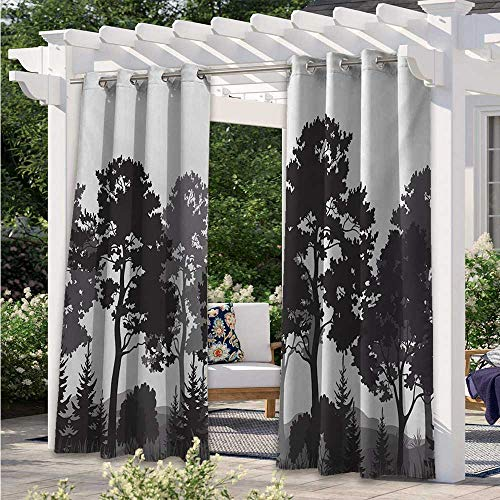 Custom Outdoor Curtain Summer Forest with Pine and Fir Trees Grass Bush Silhouettes Waterproof Sun Light Blocking Curtain for Deck/Porch/Pergola/Balcony Grey White Charcoal Grey W108 x L84 Inch