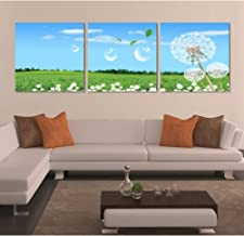 QWERGLL 3 panel Large Hopeful Field Landscape Wall Canvas Pictures Dandelion Painting On Canvas Oil Painting For Decoration
