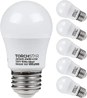 TORCHSTAR 4.5W A15 LED Light Bulb, 40W Equivalent Light Bulb, UL-Listed, E26/E27 Medium Base, 400lm, 5000K Daylight, Omni-Directional for Ceiling Fan, Desk Lamp, Floor Lamp, Pack of 6