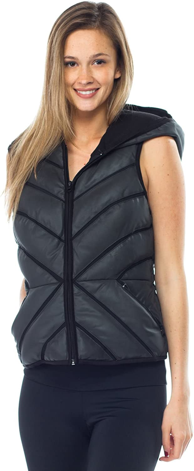 white black Mesh Inset Reflective Puffer Vest Womens Active Hoodie