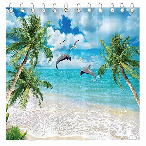 "Funnytree Summer Tropical Beach Shower Curtain Set with Hooks Dolphin Seaside Island Palm Blue Sea Bath House Bathroom Bathtubs Decor Easy Care Waterproof Washable Durable Polyester Fabric 72""x72"""