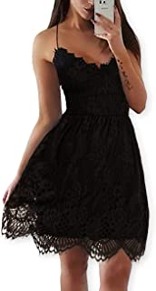 Women Summer V-Neck Spaghetti Straps Lace Backless Party Club Beach Mini Dresses