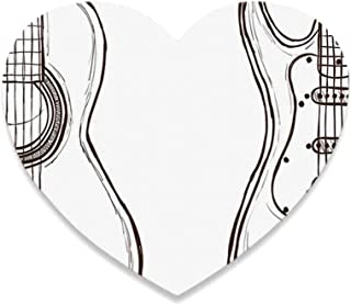 Guitar Cute Heart Coaster,Hand Drawn Monochrome Doodle Illustration of Instruments of Two Kinds Music for Home,4