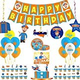 VWORK Blippi Party Supplies, Blippi Birthday Party Decorations for Kids and Teens, Include Banner, Hanging Swirls, Balloons, Cake Toppers, Plates
