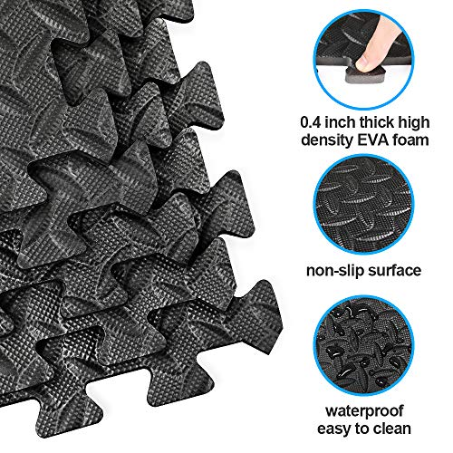 innhom Gym Mats Exercise Mat Puzzle Foam Mats Gym Flooring Mat Interlocking Foam Mats with EVA Foam Floor Tiles for Gym Equipment Workout Mat, 6 Black and 6 Gray
