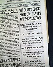 FLINT SIT-DOWN STRIKE BEGINS General Motors MI & Labor Union UAW 1936 Newspaper THE NEW YORK TIMES, December 31, 1936