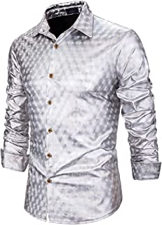 Macondoo Men Turn Down Collar Solid Color Button Down Casual Long Sleeve Shirts
