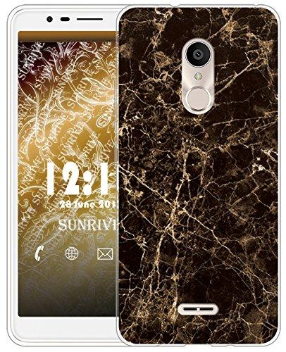 Sunrive Für Alcatel 3C Hülle Silikon, Transparent Handyhülle Schutzhülle Etui Case für Alcatel 3C(TPU Marmor Schwarzer)+Gratis Universal Eingabestift