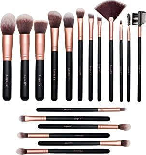18-Piece Rose Golden Makeup Brushes Wood Handle Kabuki Makeup Brush Set Premium Synthetic Kabuki Foundation Blending Face Powder Blush Concealer Contour Eyeshadow Makeup Brush Brochas De Maquillaje
