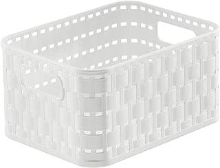 Rotho Country Panier de Rangement 2 l en Rotin, Plastique (PP) sans BPA, Blanc, A6/2 l (18,3 X 13,7 X 9,8 cm)