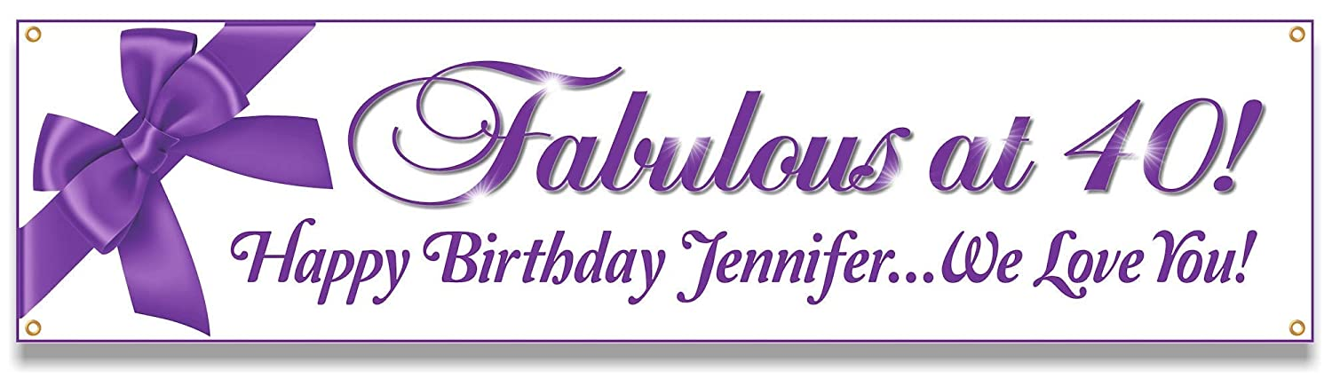 Custom Fabulous at 40 or Mail Max 65% OFF order Any f Happy Banner Party Age Birthday