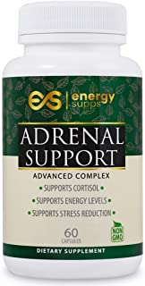 EnergySupps Adrenal Support - Cortisol Manager, Adrenal Fatigue Supplements for Stress Relief, Adrenal Health, Thyroid Support - Adaptogens Supplements with Ashwagandha, Licorice & More - 60 Capsules