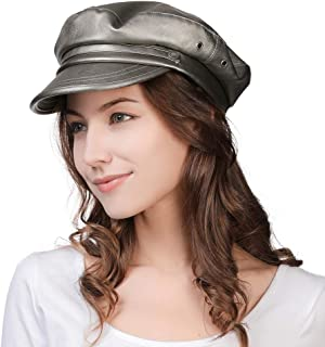Womens Newsboy Cap Baker Berets Fisherman Conductor Greek Hat Sailor Fiddler Winter PU Casual Fashion Cancer Silver