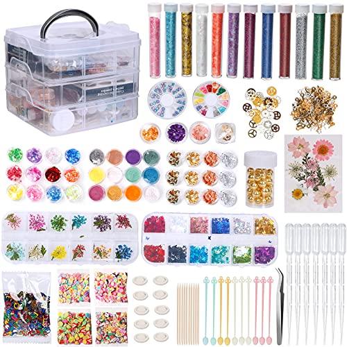 UHAPEER Accesorios de resina set, resina epoxi con caja de almacenamiento, juego de perlas, con flores secas, purpurina, copos de lámina dorada, kit para fabricación de joyas