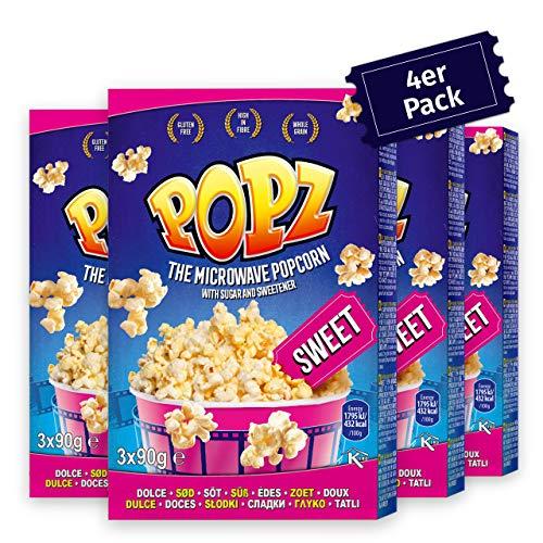 Popz Sweet & Salty Popcorn 4er Pack (4 x 255 g), Popcorn Mais für das perfekte Filmerlebnis zu Hause, Mikrowellenpopcorn mit leckerem salzig süßen Geschmack
