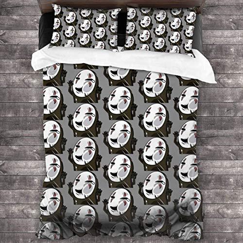 Dodunstyle Juego de Ropa de Cama de 3 Piezas Spirited Away-No Face Man Kaonashi, Funda nórdica, Fundas de edredón, Fundas de Almohada C10072