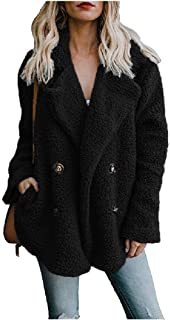 Mogogo Womens Lapel Plush Fall Winter Pure Color Button Jackets Coat with Pockets