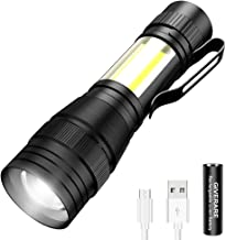 GIVERARE Tactical LED Flashlight, USB Rechargeable (Battery&USB Cable Included) Flashlights, Mini Super Bright Pen Light, Zoomable 3 Modes Handheld Torch for Cycling Hiking Camping Outdoor Emergency