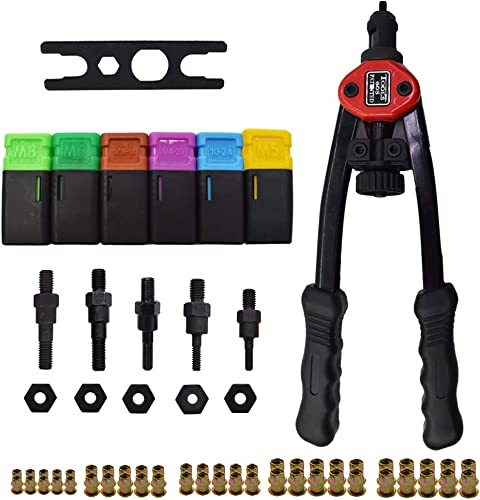 """high quality 13"""" Hand Rivet wholesale Nut Tool Kit Hand Blind lowest Riveter with 6 Pcs Mandrels M5 M6 M8 10-24 1/4-20 5/16-18 Rivet Nut Gun Riveting Tools with Metric & SAE Nose Pieces outlet online sale"""