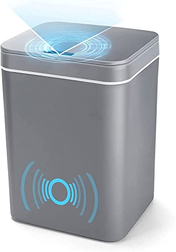 lowest Inductive Trash Can, BENBOR 14 Liter/3.7 Gallon Touchless Infrared Garbage wholesale Bin with Lid, Rechargeable Battery Powered Large Capacity Smart Trash can for wholesale Kitchen Home Office Bedroom (Grey) sale