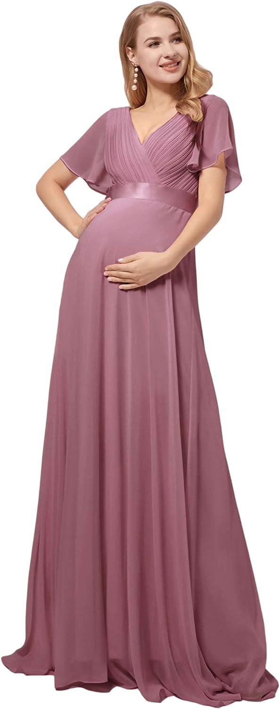 Ever-Pretty Womens Short Sleeve A-line V-Neck Chiffon Maternity Dresses for Party 9890-YF