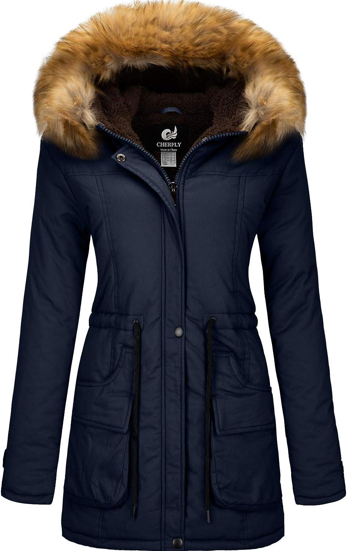 CHERFLY sold out Women's Winter Coats Hooded Fleece Jackets Lined Weekly update Puffer