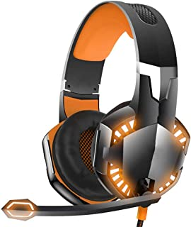 Ps4 headphones LED Stereo Gaming Headset for PS4, PC, Xbox One Wired Surround Sound Over-Ear Headphones with Noise Cancelling Mic Headset xbox headsets (Color : Orange)