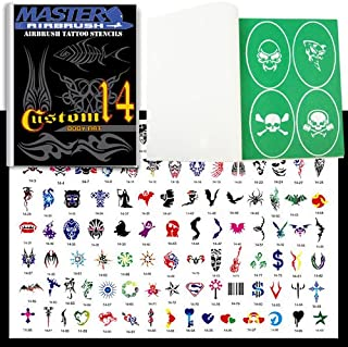 Master Airbrush® Brand Airbrush Tattoo Stencils Set Book #14 Reuseable Tattoo Template Set, Book Contains 100 Unique Stencil Designs, All Patterns Come on High Quality Vinyl Sheets with a Self Adhesive Backing.