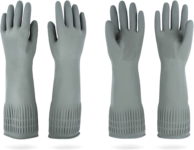 DABOGOSA 2 Pairs Rubber Gloves - Long Rubber Gloves Dishwashing Gloves Large