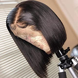 360 Full Lace Wigs Human Hair Pre Plucked Short Bob 9A Remy Peruvian Human Hair Wigs for Black Women 150% Density 360 Lace Frontal Wig with Baby Hair Silky Straight Human Hair Wig Straight 12""