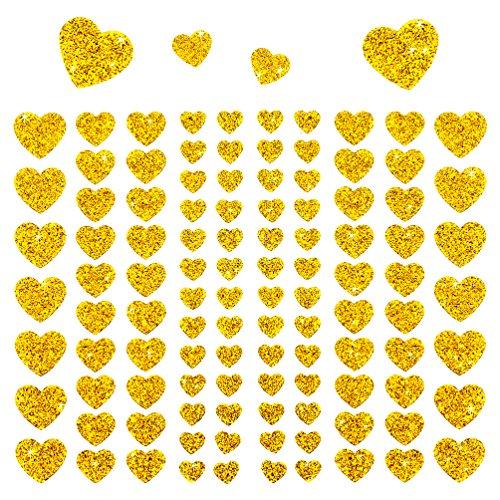 Oblique Unique® - 106 Herz Aufkleber mit Glitzer Effekt in Gold I Herzen Sticker I Scrapbooking Dekoration Liebe Kinder Geburtstag