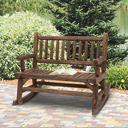 Outsunny Wooden Rocking Chair 2-Person Outdoor Bench with Natural Fir Wood Construction & Relaxing Swinging Motion