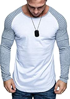 ouxiuli Mens Fashion Long Raglan Sleeve Contrast Color Round Neck Tee Top T Shirt 6 X-Large