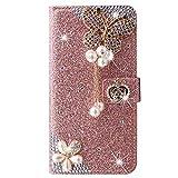 Blllue Funda tipo cartera compatible con Xiaomi Redmi Note 8 Pro, Glitter Bling Crown Butterfly Diamond Pu Funda de cuero Flip Phone Cover para Redmi Note 8 Pro - Rosegold