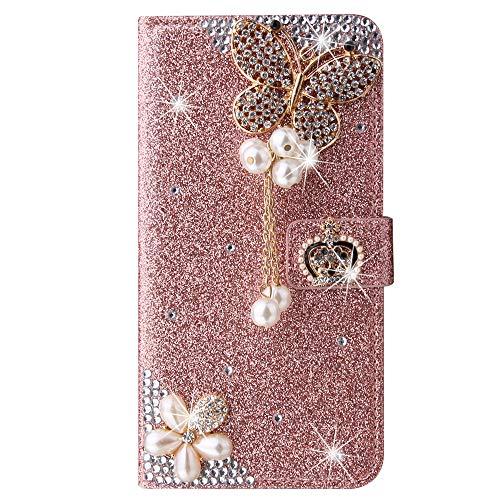 Blllue Funda tipo cartera compatible con iPhone 12 Pro, Bling Crown Butterfly Glitter Diamond Pu Funda de cuero Flip Phone Cover para iPhone 12 Pro 6.1 pulgadas - Rosegold
