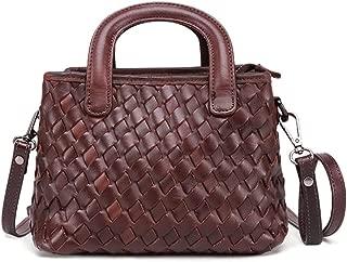 ZXK Brown/Black Leather Female Bag Shoulder Bag Vegetable Tanned Leather Weaving Small Handbag Multi-Function Slung Female Bag 22 * 12 * 16 (cm) Fashion (Color : Brown)