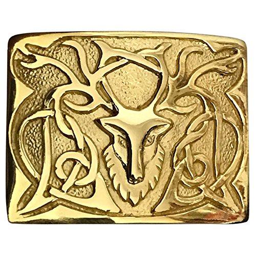 Schotse Highland Kilt riem gesp Stag Head ontwerp antiek/chroom/gouden afwerking