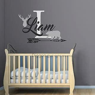 Personalized Name Wall Decal Deer Antlers Decal Bear Decal Arrow Vinyl Decal Rustic Nursery Decor (34
