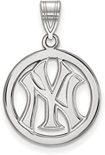 MLB New York Yankees Sterling Silver MLB LogoArt New York Yankees Sm Pendant in Circle Size One Size