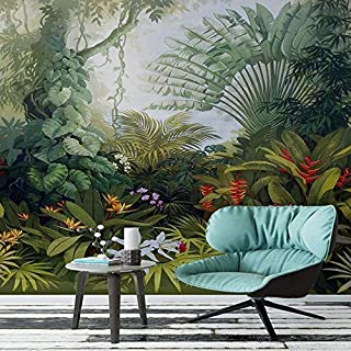 LUDEOU Custom Mural Wallpapers European Style Retro Tropical Rain Forest Plant Scenery Photo Wall Painting Murals Living R...